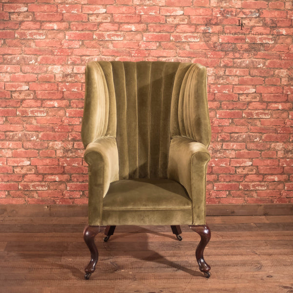 Chairs & Seating-Victorian Antique Armchair, Scottish Fireside Wing Back - 2