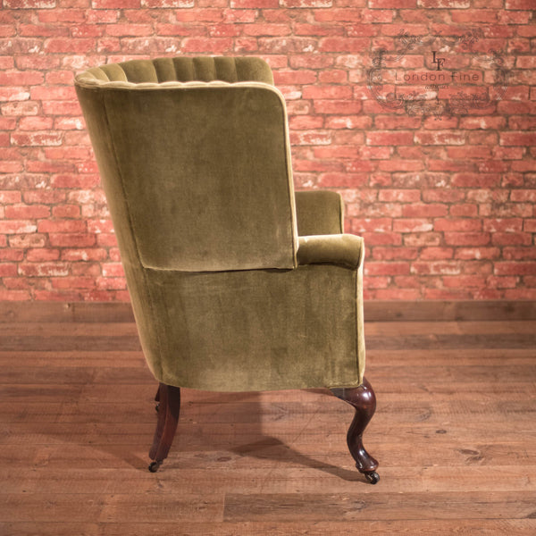 Chairs & Seating-Victorian Antique Armchair, Scottish Fireside Wing Back - 3