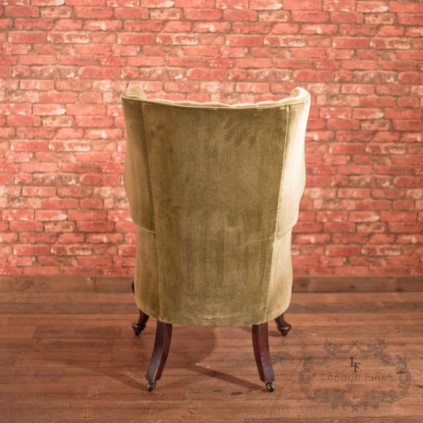Chairs & Seating-Victorian Antique Armchair, Scottish Fireside Wing Back - 4