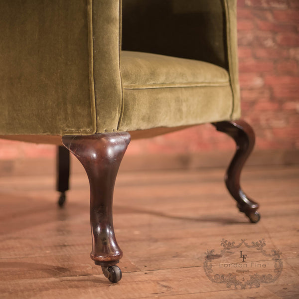 Chairs & Seating-Victorian Antique Armchair, Scottish Fireside Wing Back - 6