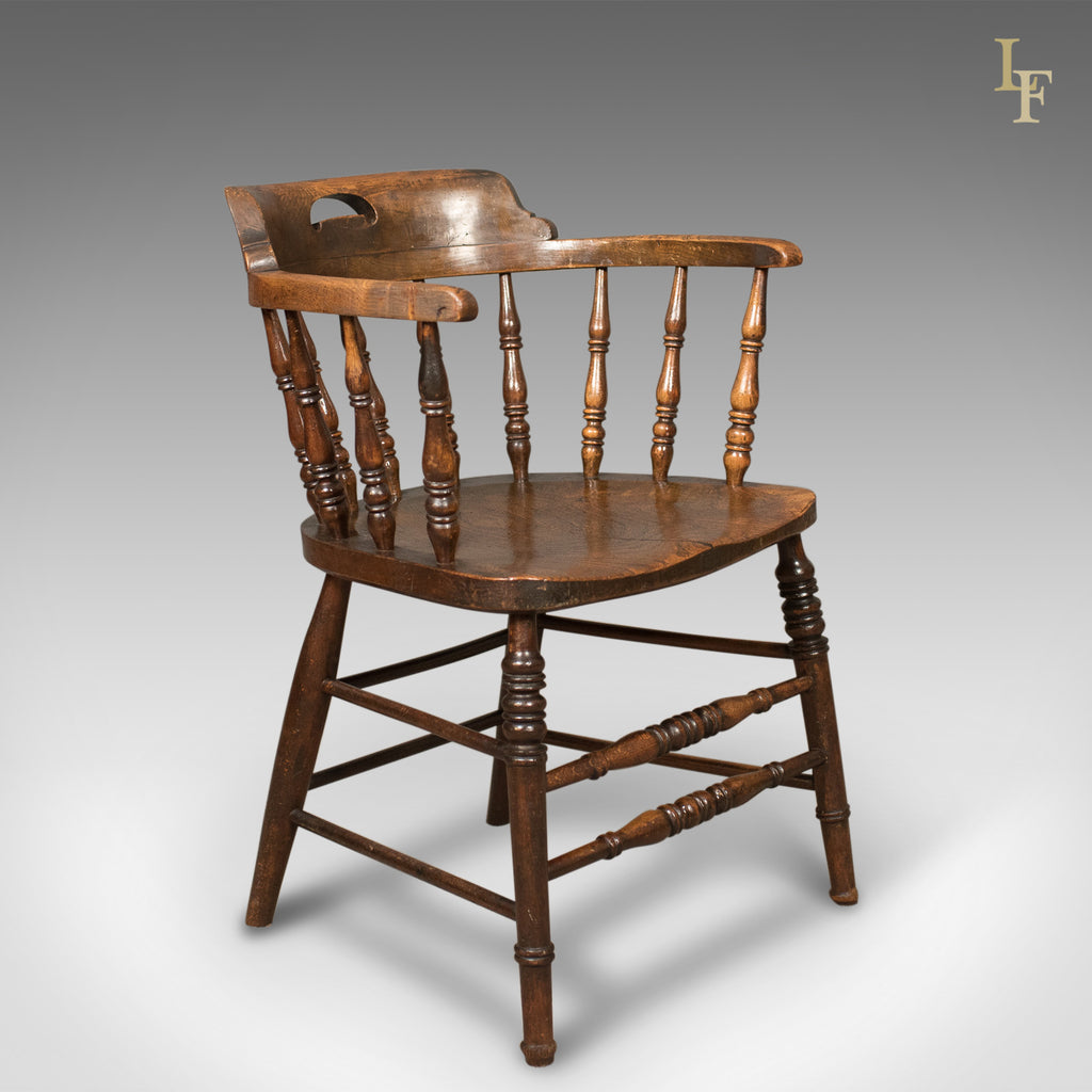 Victorian Antique Bow Back Chair, English Elm Windsor C.1870