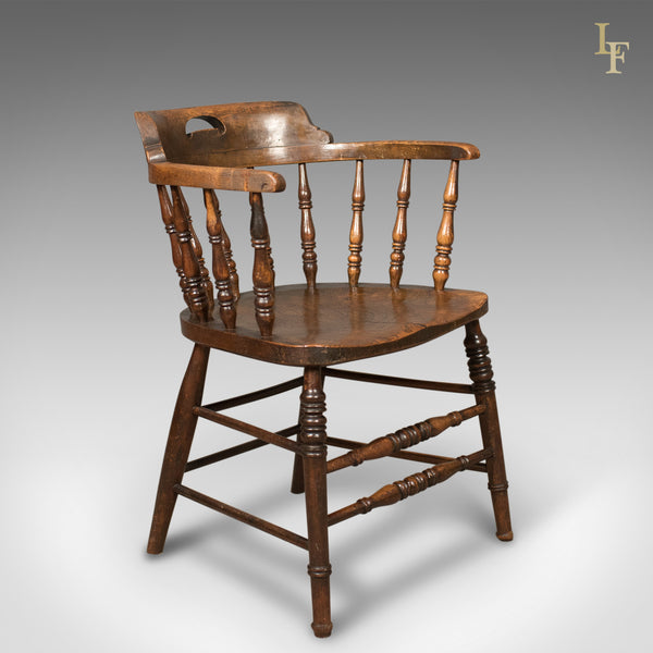 Victorian Antique Bow-Back Chair, English Elm Windsor c.1870