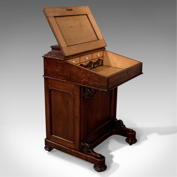 Victorian Antique Davenport, English Oak Writing Desk, Bureau Circa 1870