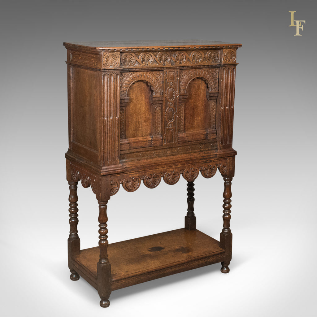 Details About Victorian Antique Livery Cupboard In The 17th Century Taste,  English, Oak C.1880
