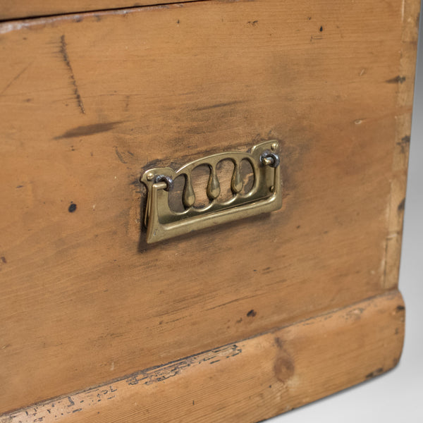 Victorian Antique Pine Trunk, English Carriage Chest, c.1860