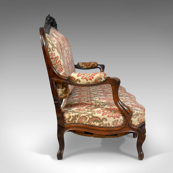 Victorian Antique Settee, Rosewood, English, 3 Seater Sofa Circa 1850