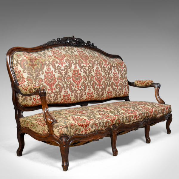 Victorian Antique Settee, Rosewood, English, 3 Seater Sofa Circa 1850 - London Fine Antiques