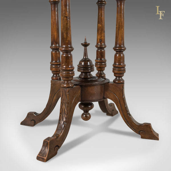 Victorian Antique Side Table with Inlaid Chess Board, English c.1880