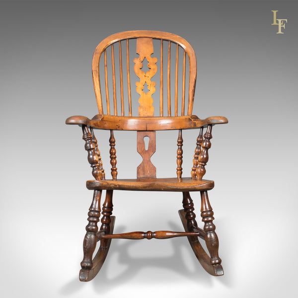 Victorian Antique Windsor Rocking Chair, English Armchair, Yorkshire c.1850 - London Fine Antiques