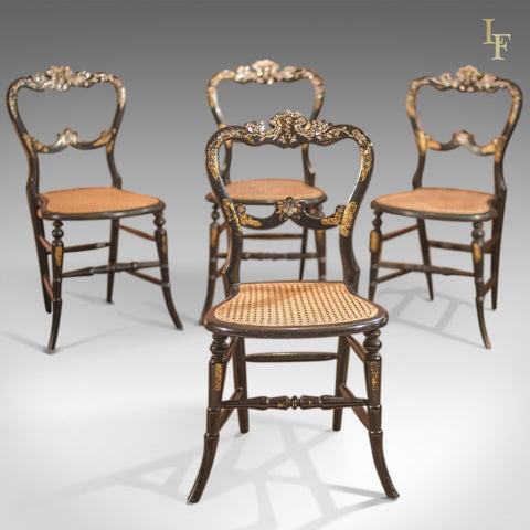 Victorian Set of Four Antique Dining Chairs, Lacquered - London Fine Antiques