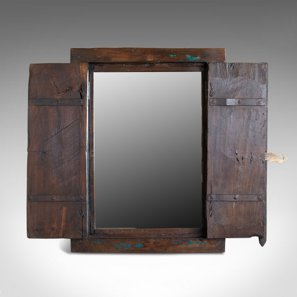 Vintage Asian Cupboard Mirror, Rustic, Wall Cabinet, Mid-Late 20th Century