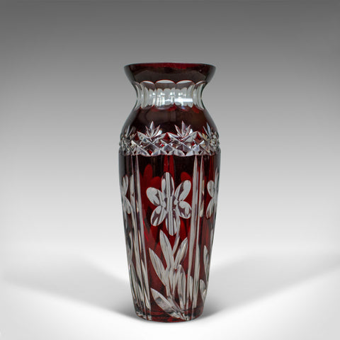 Vintage Baluster Glass Vase, Claret, Cut, Art Deco Taste, Mid 20th Century - London Fine Antiques