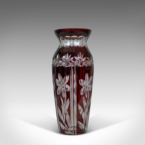 Vintage Baluster Glass Vase, Claret, Cut, Art Deco Taste, Mid 20th Century