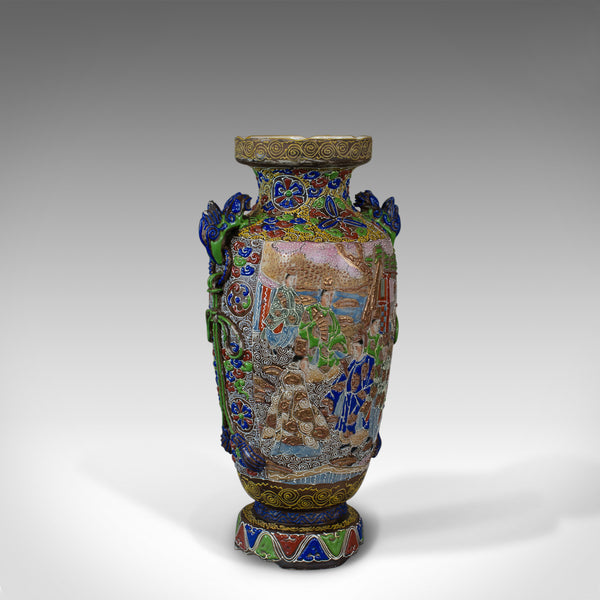 Vintage Baluster Vase, Oriental, Decorative, Ceramic, Vessel, 20th Century
