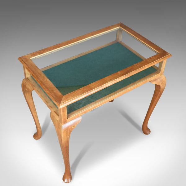 Vintage Bijouterie Table, 20th Century Display Case, Light Mahogany 1993