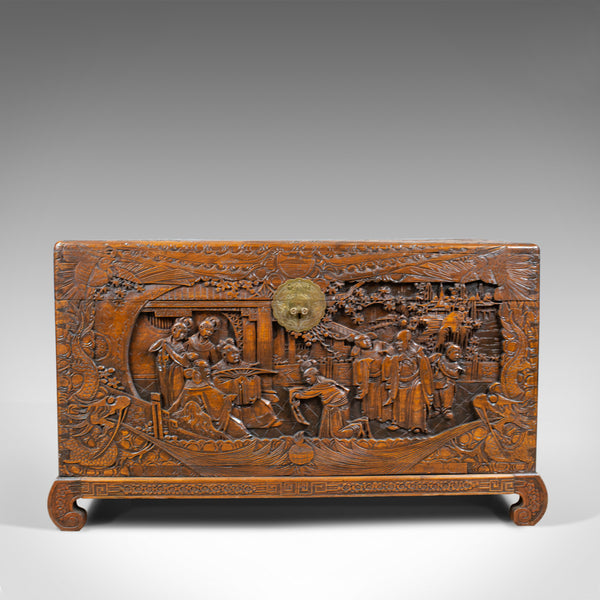 Vintage Camphor Wood Chest, Oriental, Carved, Trunk, Circa 1930 - London Fine Antiques
