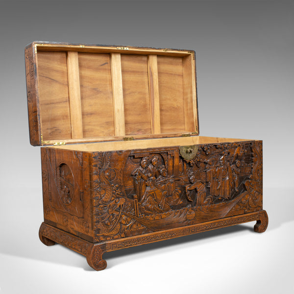 Vintage Camphor Wood Chest, Oriental, Carved, Trunk, Circa 1930