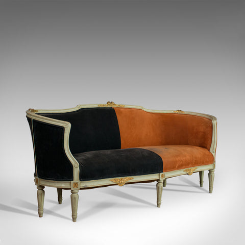 Vintage Canape Sofa, Louis XV Taste, French, Beech, Velour, Two Tone, Circa 1930