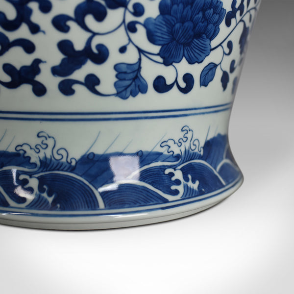 Vintage Chinese Baluster Jar, Oriental Blue & White Cermaic Vase, Mid-Late C20th - London Fine Antiques