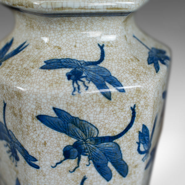 Vintage Chinese Baluster Vase, Oriental Hexagonal Blue & White, Dragonfly C20th