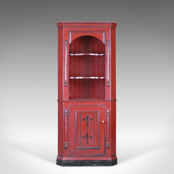 Painted Pine Kitchen Cabinets: Vintage Corner Cabinet, Late 20th Century, Painted, Pine