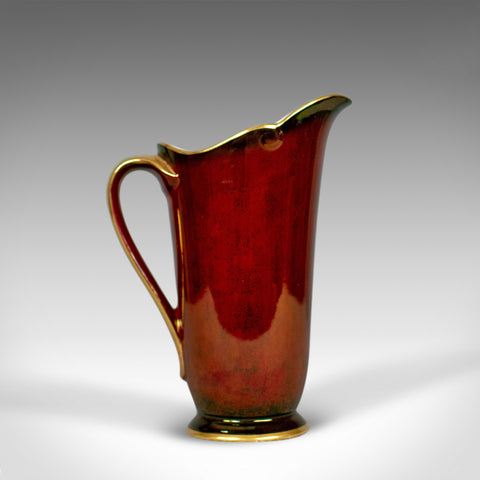 Vintage, Crown Devon Ewer, Decorative Jug, 3322, Rouge, Gold, Pearlescent C20th - London Fine Antiques
