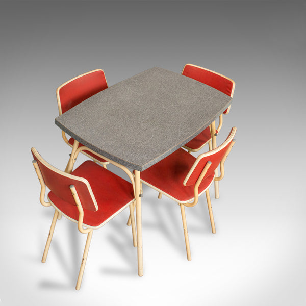 Vintage Dining Room Set, French, Steel, Table, Chairs, Art Deco, Circa 1950