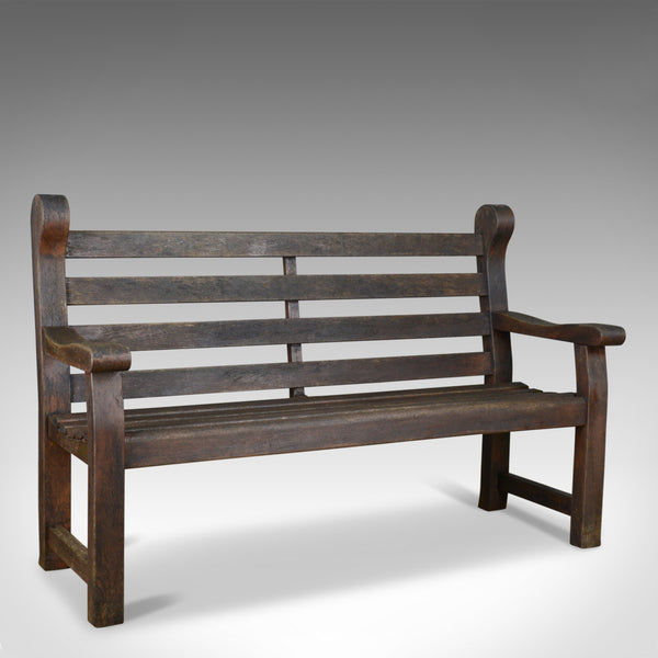 Vintage Garden Bench, English, Hardwood, Seat, Late 20th Century, Seats 3 or 4 - London Fine Antiques