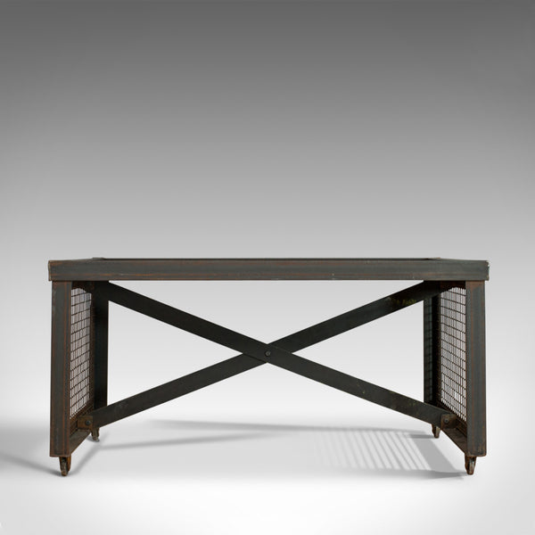 Vintage Industrial Coffee Table, English, Foundry Steel, Oak, 20th Century