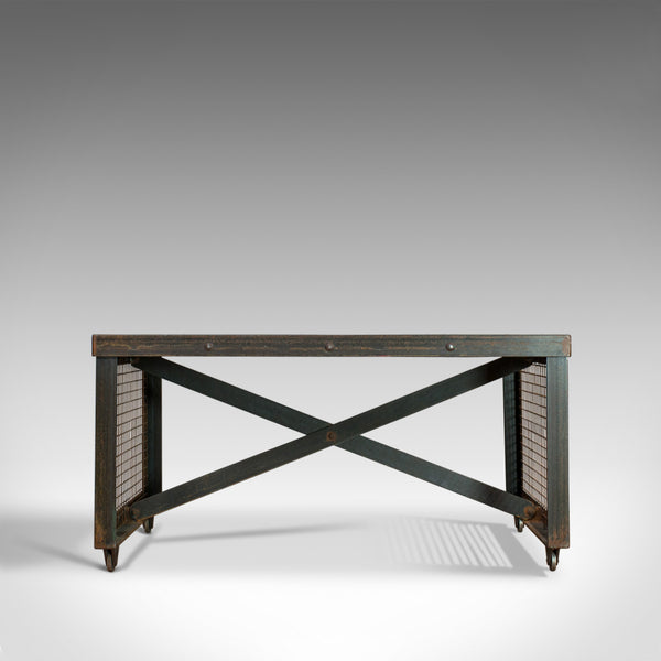 Vintage Industrial Coffee Table, English, Steel, Oak, 20th Century - London Fine Antiques