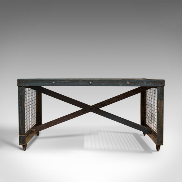 Vintage Industrial Coffee Table, English, Steel, Oak, Late 20th Century - London Fine Antiques