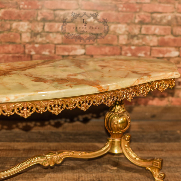 Mid Century Gilt Metal & Marble Coffee Table - London Fine Antiques - 10