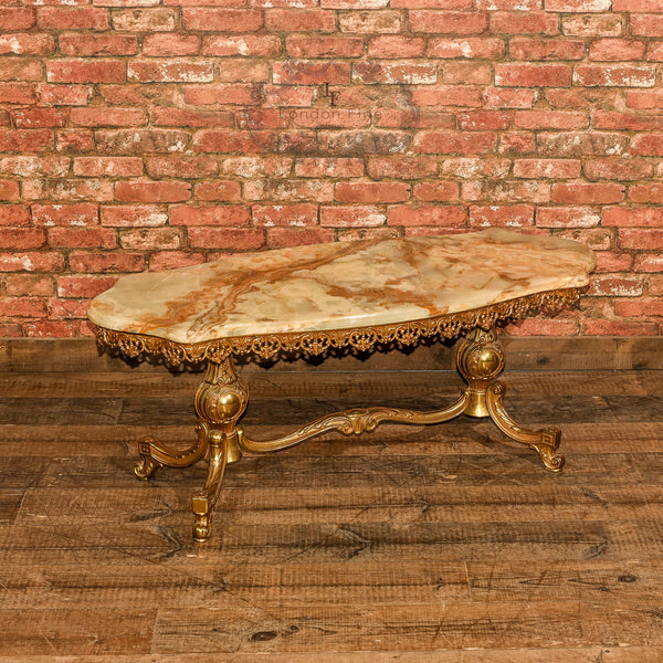 Marble Coffee Table In Singapore: Mid Century Gilt Metal & Marble Coffee Table