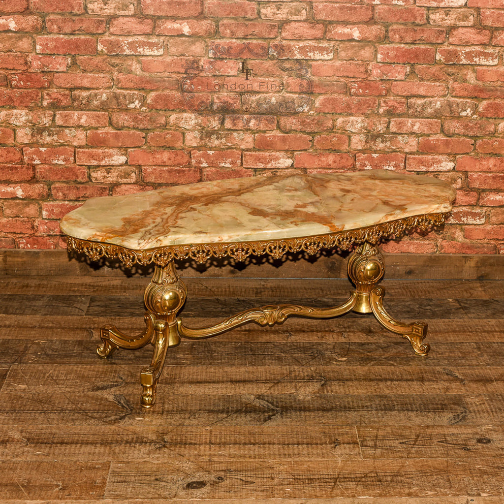 Mid Century Gilt Metal & Marble Coffee Table - London Fine Antiques