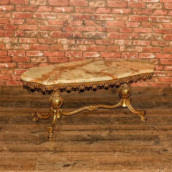 Marble Topped Gilt Coffee Table C 1920: Mid Century Gilt Metal & Marble Coffee Table