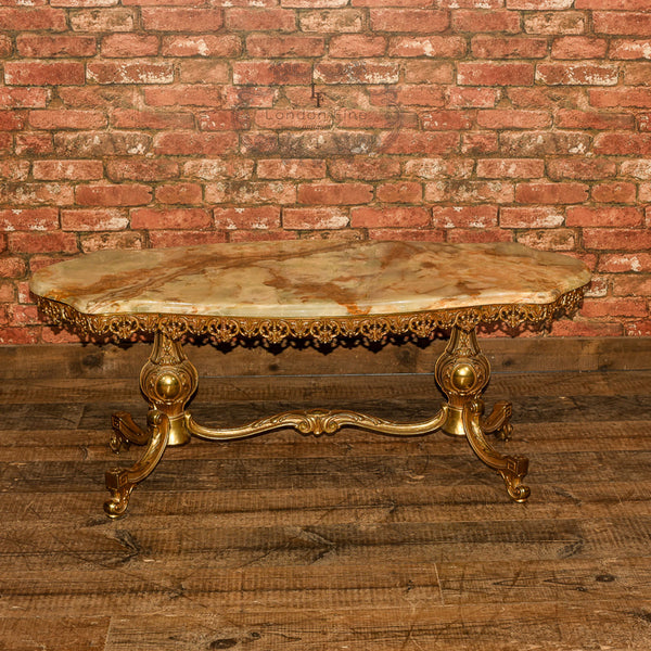 Mid Century Gilt Metal & Marble Coffee Table - London Fine Antiques - 3
