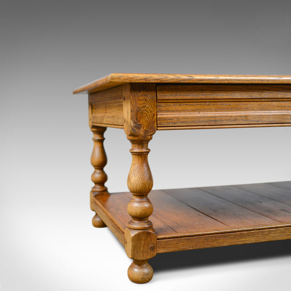 Balustrade Coffee Table Legs Uk: Vintage Oak Coffee Table, English, Drawers, Late 20th