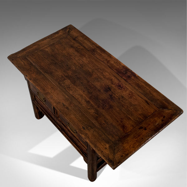 Vintage Oriental Coffee Table, Mid 20th Century, Pine, Low with Drawers