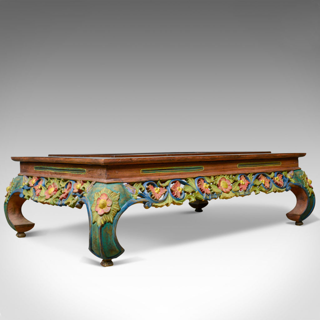 4 Foot Vintage Oriental Low Coffee Table, Hand Carved Painted Frieze, Late C20th - London Fine Antiques