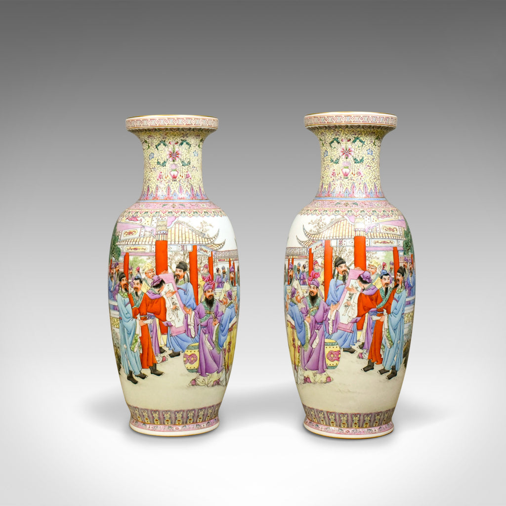 Vintage Pair of Chinese Baluster Vases, Ceramic Pots, Late 20th Century