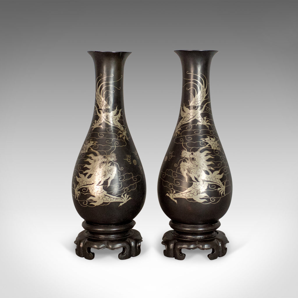 Vintage Pair of Lacquerware Vases, Chinese, 'Bodiless', Stem, Silver on Black - London Fine Antiques