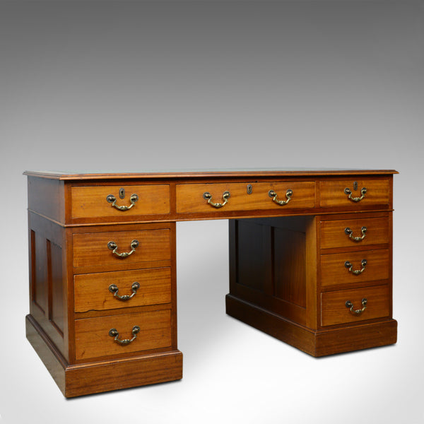 Vintage Pedestal Desk, English, Mahogany, Tooled Leather, Mid 20th Century