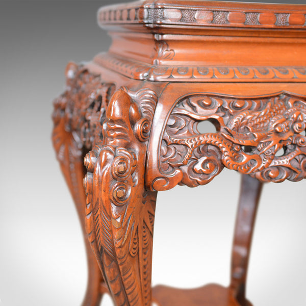 Vintage Pedestal Table, Carved, Oriental, Chinese Elm, Side, Plant Stand, C20th - London Fine Antiques