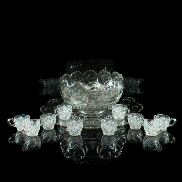 Vintage Punch Bowl, Set of Ten Cups, English, Mid 20th Century - London Fine Antiques
