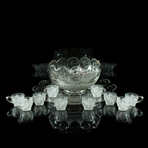 Vintage Punch Bowl, Set of Ten Cups, English, Mid 20th Century