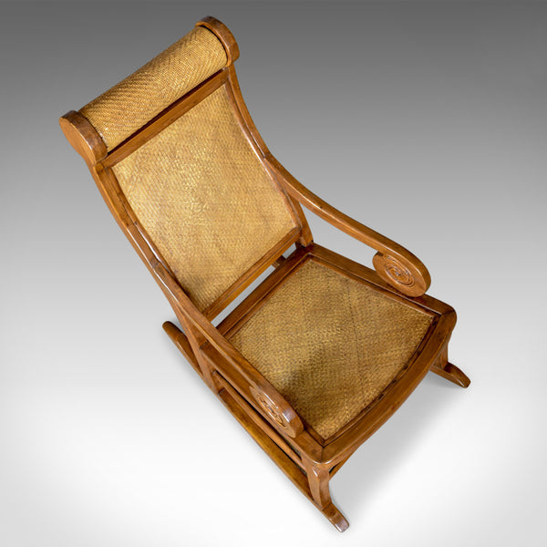 Vintage Rattan Rocking Chair, Hardwood Recliner, Mid-Century Circa 1970s - London Fine Antiques
