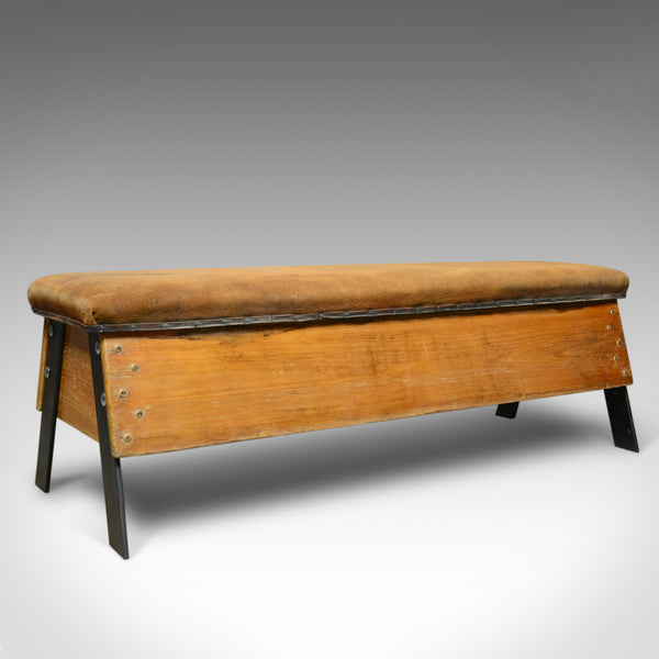 Vintage Suede Top Bench, Vaulting Horse Three Seat, Mid Century Chic - London Fine Antiques