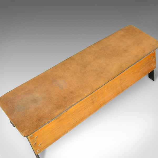 Vintage Suede Top Bench, Vaulting Horse Three Seat, Mid Century Chic