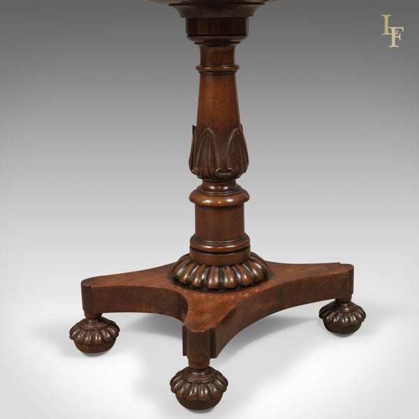 William IV Antique Teapoy, English Flame Mahogany, Side Table, c.1835