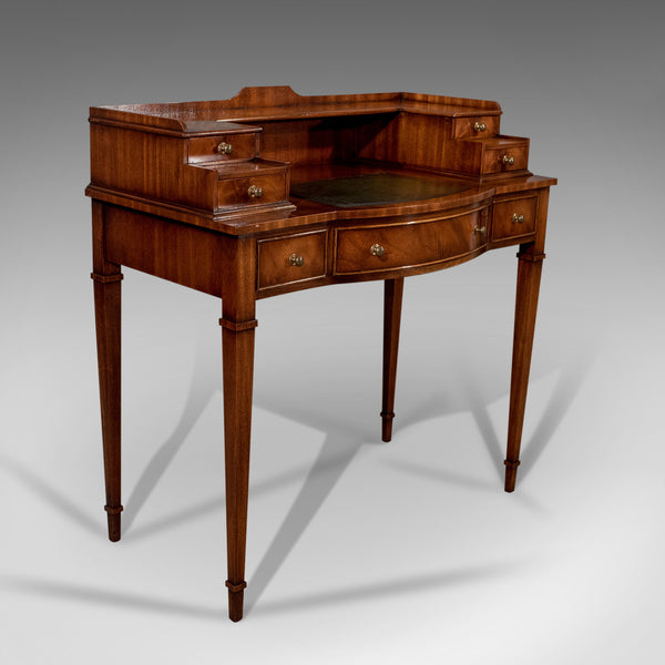 Writing Desk, Antique Sheraton Taste, Mahogany, Leather Top, Table, Bureau C20th - London Fine Antiques